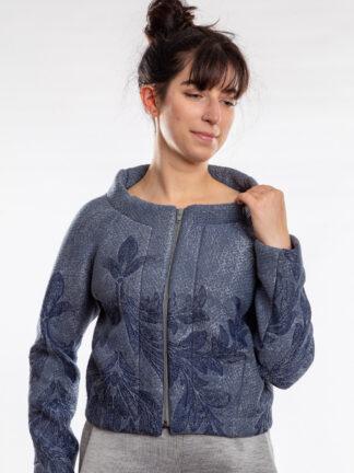 Vest DELTA van matrassencover, blauw, gerecycleerd textiel van Bekaert Deslee, sociaal lokaal geproduceerd.