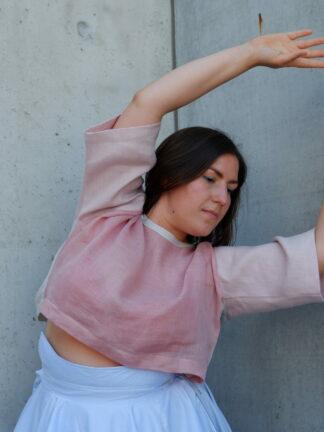 shortsleeve T-Shirt SIERRA in linnen, roze, gerecycleerd textiel van LIBECO, sociaal en lokaal geproduceerd