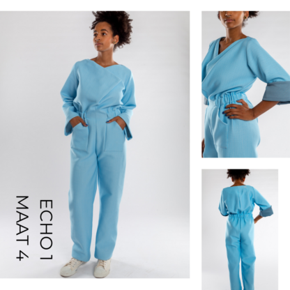 Kwaliteitsvolle blauwe jumsuit ECHO uit matras stof
