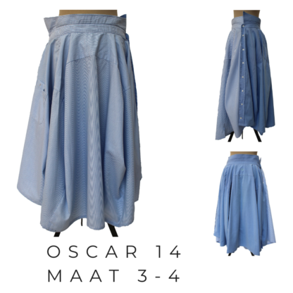 Lange OSCAR rok uit gerecycleerde mannen hemden