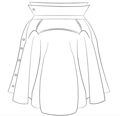 rok OSCAR technische tekening gerecycleerd uit hemden