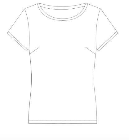 shortsleeve T-shirt INDIA technische tekening