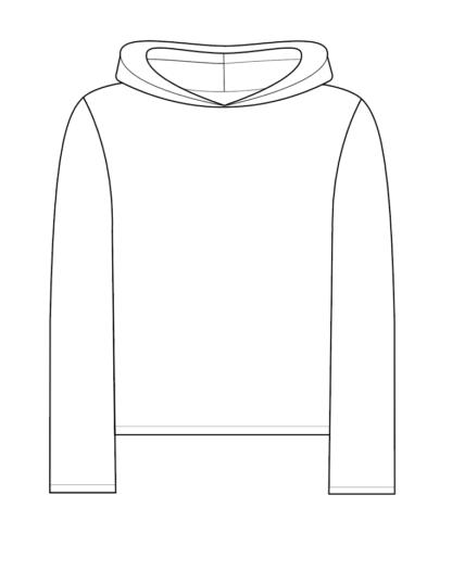 hoodie MIKE technische tekening