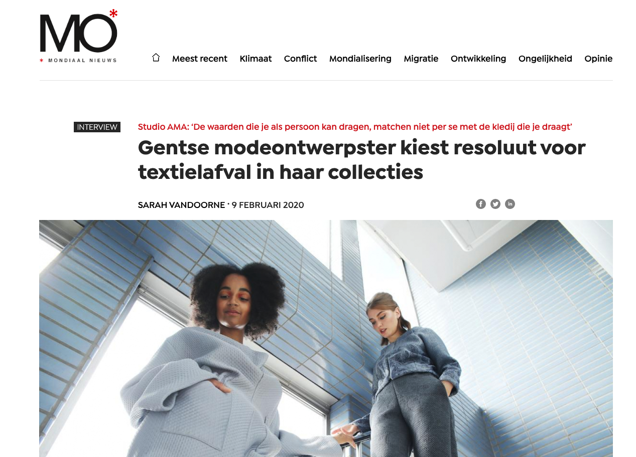 Gentse modeontwerpster kiest resoluut voor textielafval in haar collecties artikel uit Mo over Studio Ama