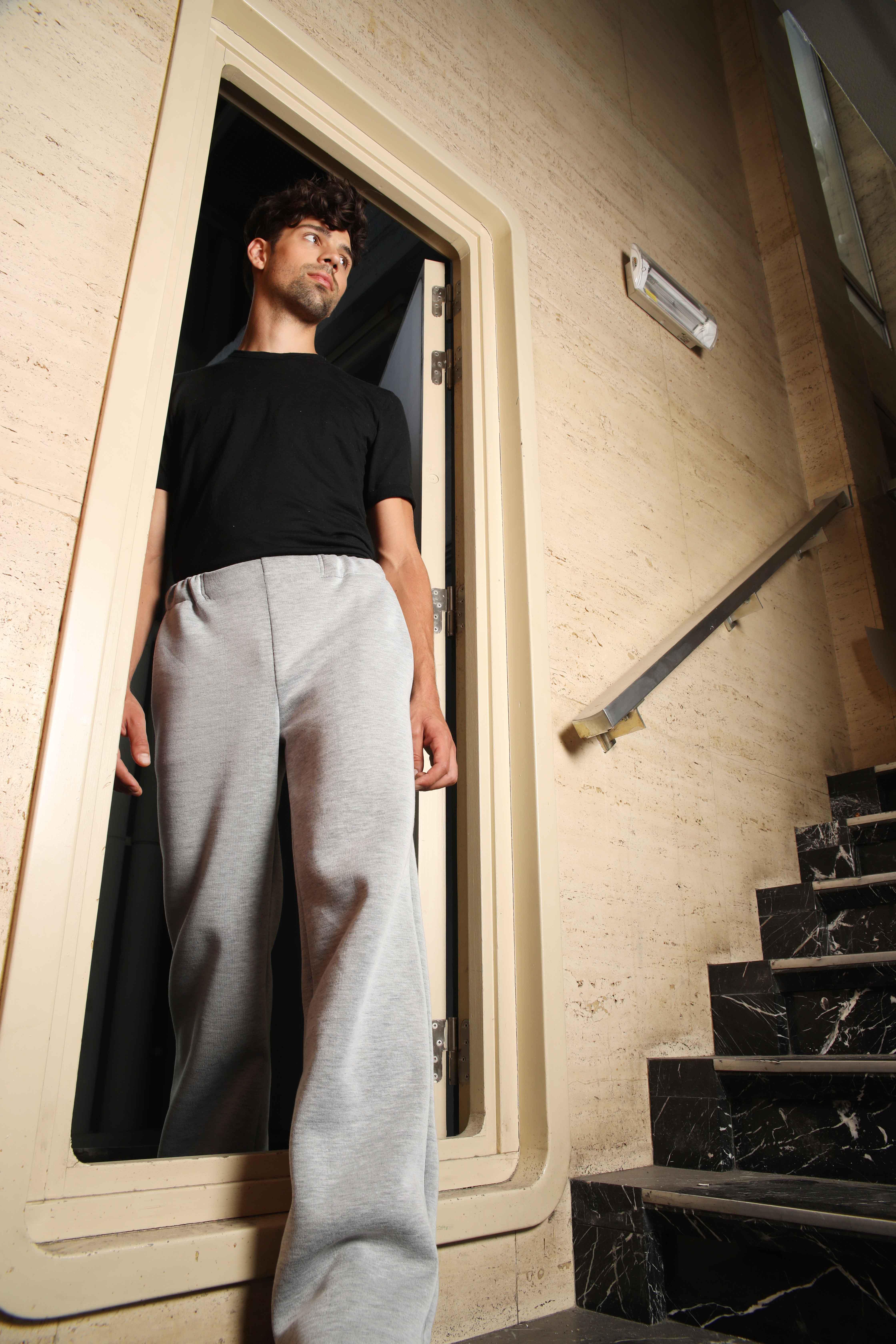 mode, sustainable, ecologisch, kleren, transparant, unisex, mannen, trousers, grijs, elastiek