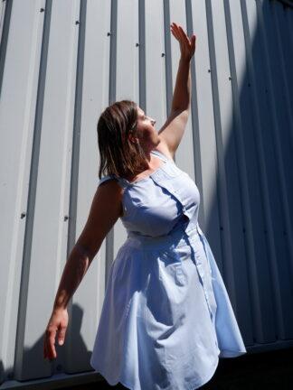 Dress TANGO in gerecycleerde hemden, blauw, sociaal en lokaal geproduceerd