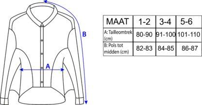 Maattabel duurzame cape gemaakt uit hemden